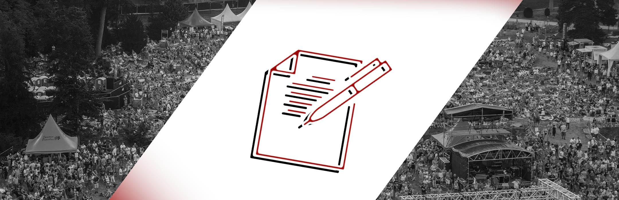 Titelbild Anmeldung I event-akademie.at. Mittig zeigt eine stilisierte Grafik einen Notizblock und Stift. Im Hintergrund sieht man die Crowd auf einem Festivalgelände.