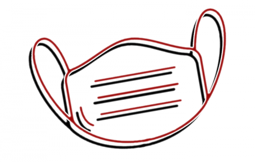 Icon Covid-19 Prävention I event-akademie.at - stilisiertes Icon einer Maske in schwarz und dunkelrot