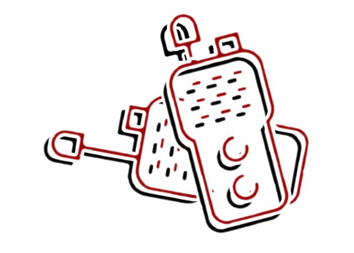 Icon Lehrgang Funkkommunikation I event-akademie.at - stilisiertes Icon von zwei Funkgeräten in schwarz und dunkelrot
